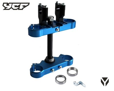 TRIPLE CLAMP 45/48mm 2020 (with bare   mounts single screw) BLUE